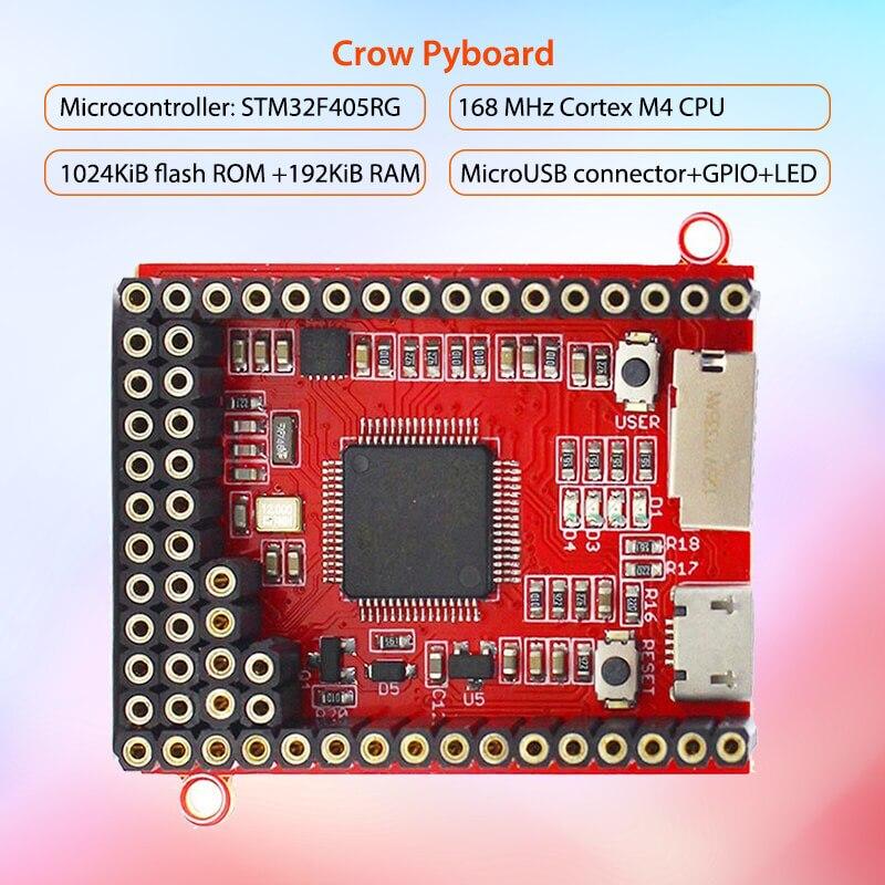 Placa de núcleo Elecrow Crow Pyboard Placa de desarrollo de microcontrolador MicroPython stm32 Sensor para Pyboard Python módulo de aprendizaje
