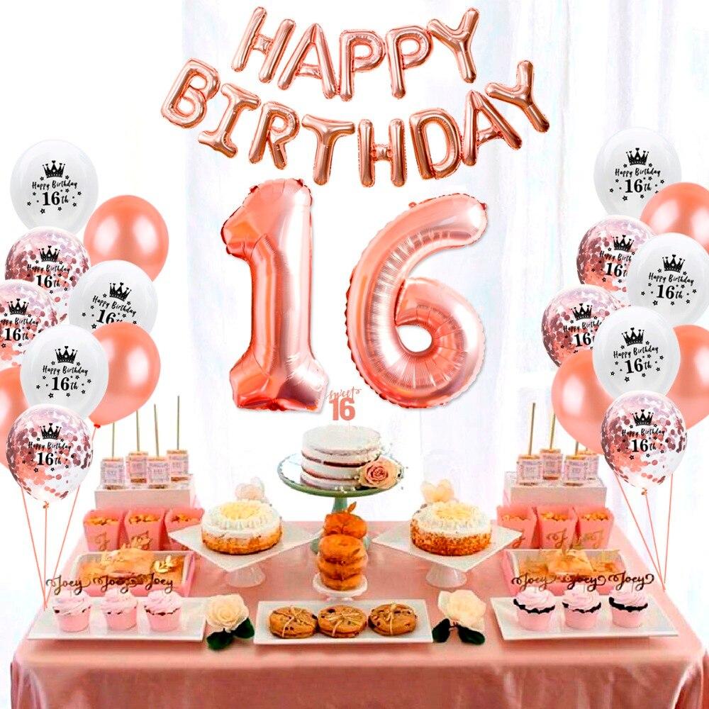 HUIRAN or Rose décorations de fête danniversaire adulte 16th joyeux anniversaire ballons doux 16 décorations de fête 16 décor danniversaire