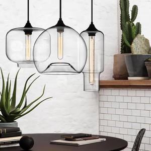 Modern Restaurant Bar Single Head Creative Cafe Nordic Clear Glass staircase Pendant Lamp Living Room Bedroom LED Fixture