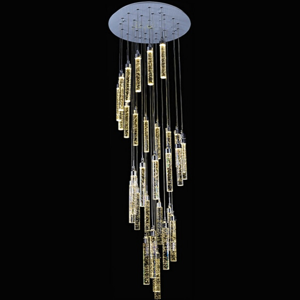 Lámpara colgante de doble cristal grande escalera de Villa de lujo LED araña larga columna de burbuja cristal sala de estar lámpara espiral