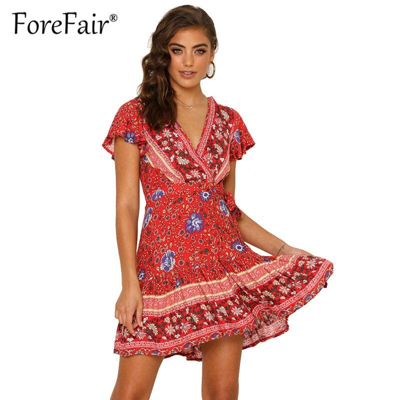 Forefair Vintage bohemio vestido 2019 mujer Sexy vestido Mini línea de cuello V manga corta desgaste de la playa Boho verano vestidos