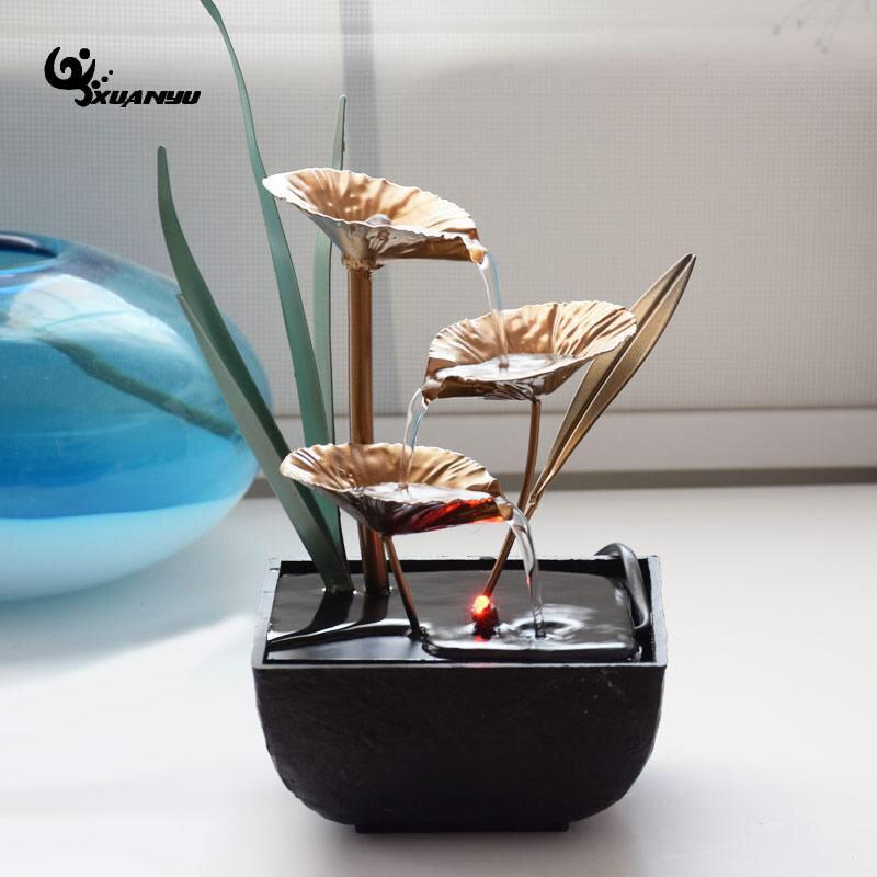 Estilo europeu resina sintética à prova dwaterproof água fonte mesa ornamentos de escritório sala geomantic fengshui roda decoração para casa