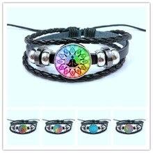 Rainbow 7 شقرا غامض ماندالا زر المنسوجة الجلود سوار الفن زهرة الحياة الزجاج سوار اليوغا مجوهرات