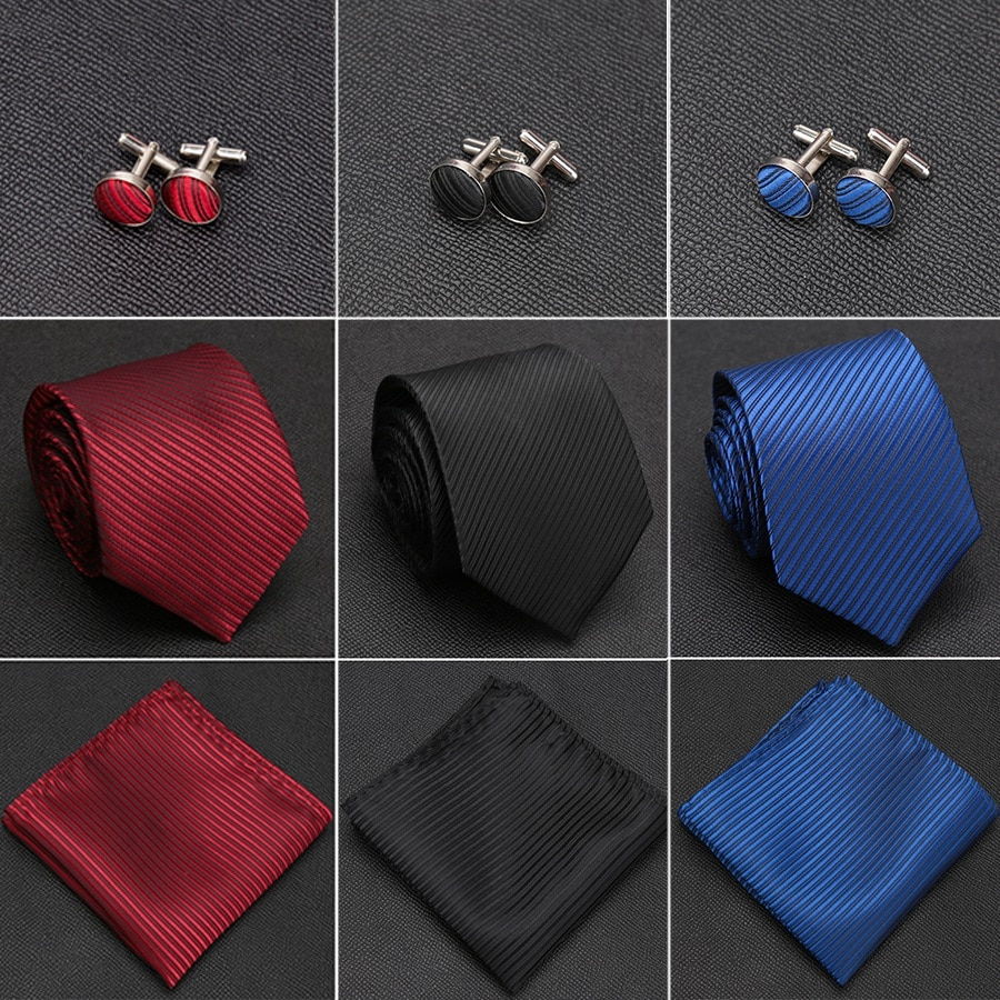 Mens Tie Solid Handkerchief Necktie Cufflinks Set Fashion Stripe Ties for Men Cravat Party Man Gift Wedding Dress Accessories недорого