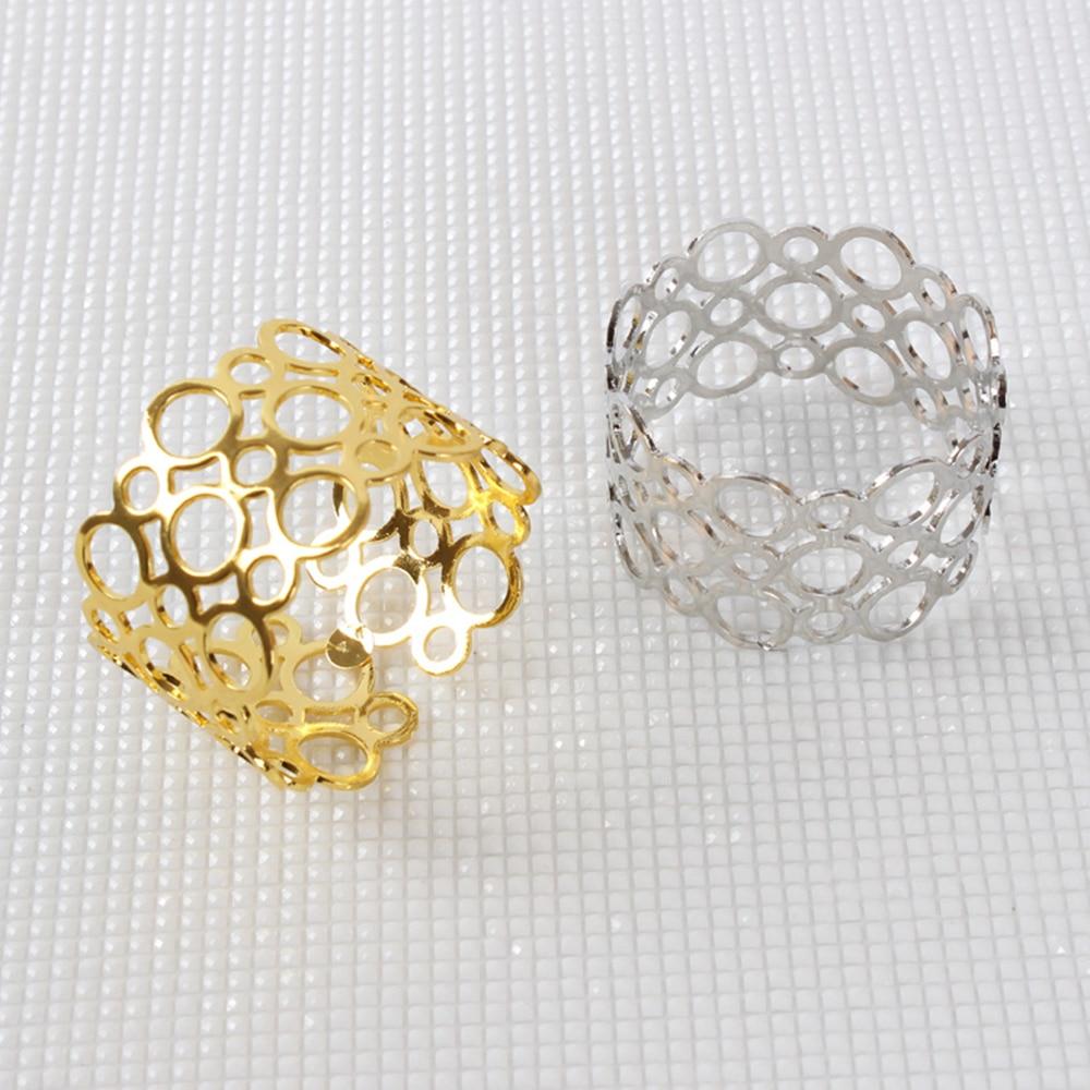 12 unids/lote SHSEJA servilletero redondo hueco anillo de hotel hermosa servilleta anillo de boda servilleta para banquete anillo decoraciones de escritorio