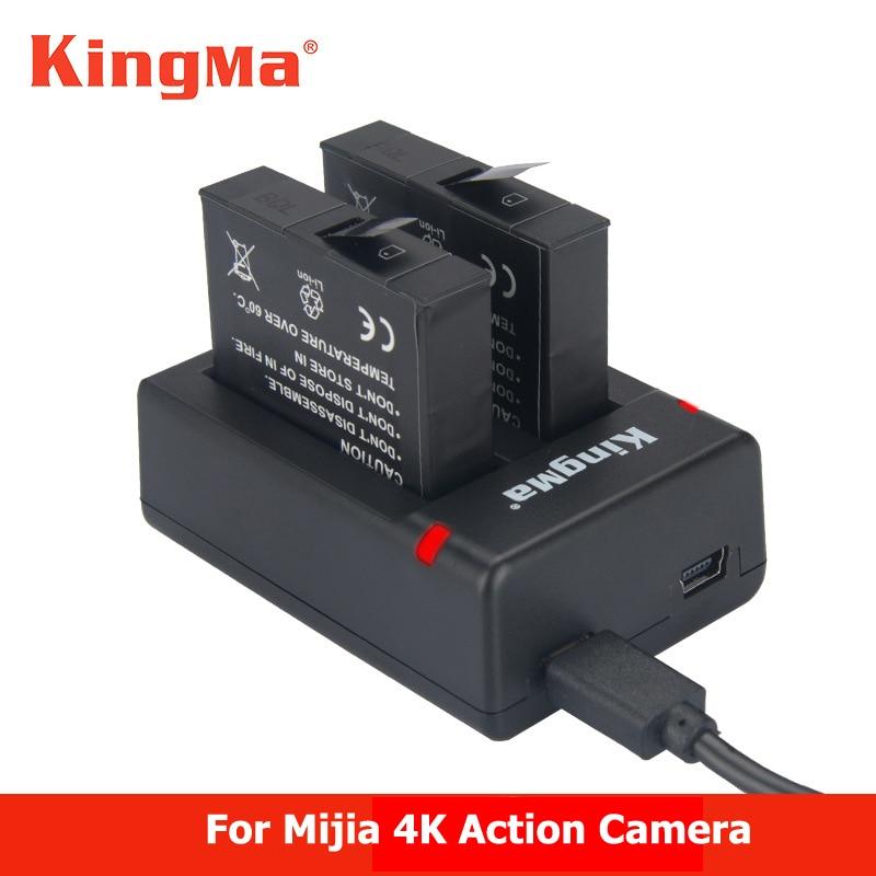 KingMa ل 2 قطعة Xiaomi mijia 4k بطاريات شاحن بطارية + المزدوج للرياضة شياو مي مي جيا عمل مصغرة كاميرا الملحقات البطارية