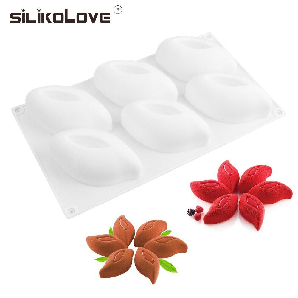 SILIKOLOVE nuevo molde de pastel 3D 6 flores Pentals moldes de silicona para decoración manualidades pastel hornear postre de mousse moldes utensilios para hornear