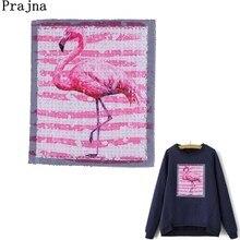 Prajna-Patch paillettes flamand rose   Patchs de couture, oiseau appliques vêtements grande taille, autocollants pour vêtements T-shirts, cadeaux de femme, bricolage