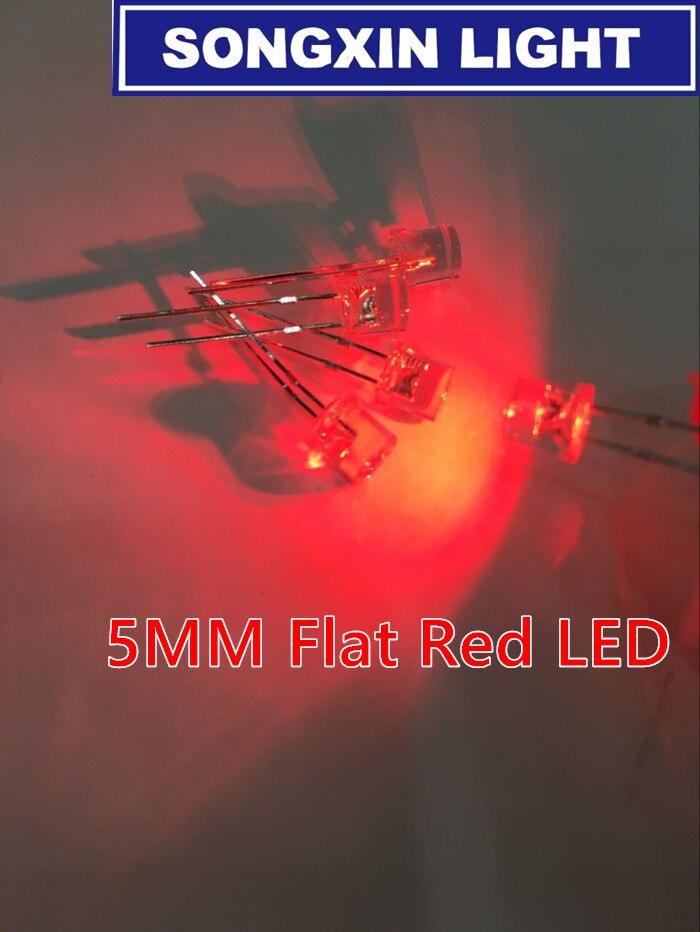 Diodo LED rojo transparente de 5mm, 100 Uds., Ultra brillante, plano, gran angular, de 5mm lente transparente, lámpara LED de diodo emisor de luz