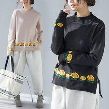 Herfst Winter Trui Losse Trui Vrouwen Oversized Casual Zonnebloem Borduren Knitwear O-hals blusas de moda Tops f962