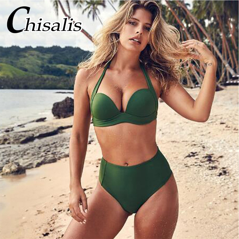 Sexy Hohe Taille Bikini Solide Push Up Bademode Frauen Badeanzug 2018 Womens Bikini Set Halter Top Badeanzug Bademode Biquinis