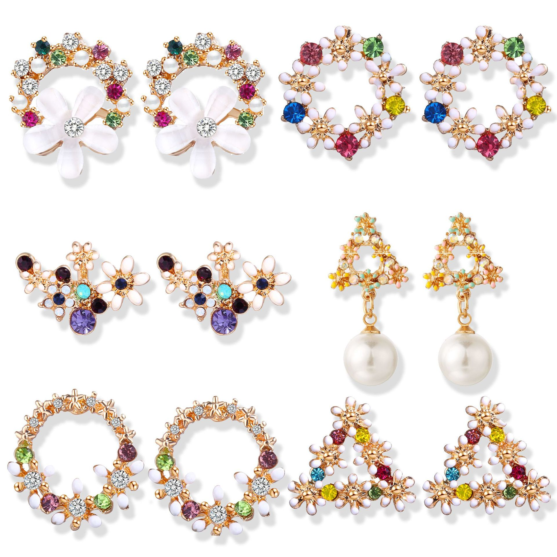 European and American new earrings creative fashion embedded flowers imitation pearl ear nail Ear Jewelry