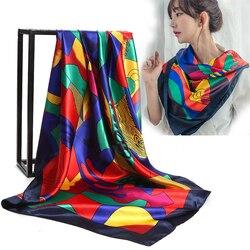 Женский мягкий шарф KLV, элегантные квадратные шарфы из искусственного шелка, 90*90 см