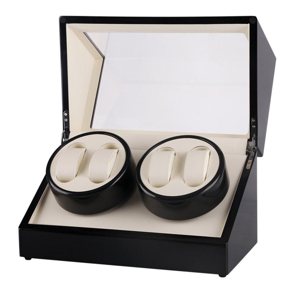 Reloj de cuerda para reloj de madera con 4 ranuras Global, caja de rebobinadora de reloj, reloj con pantalla de Motor, laca giratoria, reloj de cuerda, caja superior