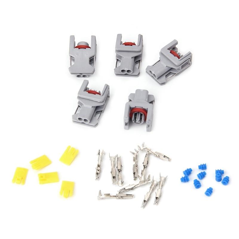5 Juegos 2 Pin conector impermeable para Delphi 10811963 inyector de combustible Diesel enchufe de carril de combustible T15