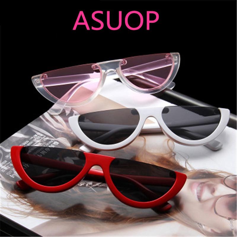 ASUOP new retro cat eyes ladies sunglasses men's semi-circle triangle fashion glasses transparent UV