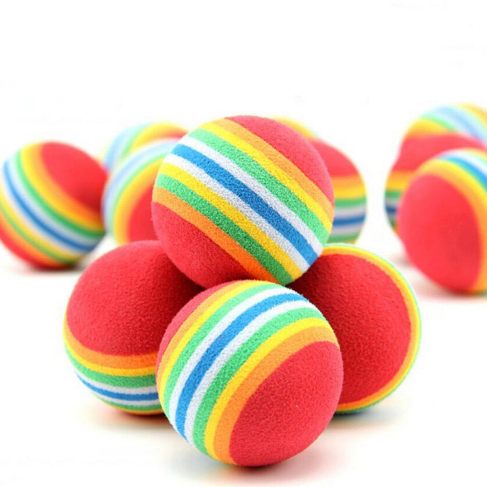 10pcs/lot 35mm/42mm EVA Rainbow Ball Activities Funny Kid Foam Sponge Balls Childrens Baby Outdoor Game Play Toys