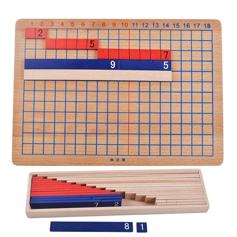 Juguetes de matemáticas Montessori de madera, tablero de tira de resta, Material de matemáticas, juguetes educativos de aprendizaje preescolares para niños YG0264h