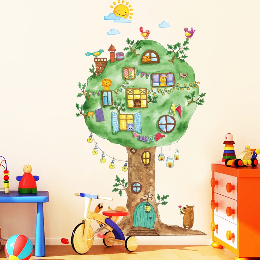 Виниловые наклейки на стену с изображением дерева для детской комнаты, детского сада, детской комнаты, украшения на стену, домашний декор, художественные наклейки, росписи dc8