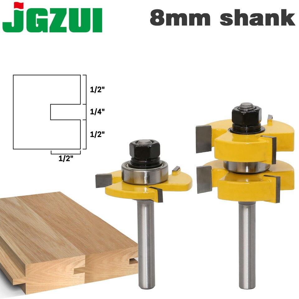 """2 adet 8mm Shank Dil & Groove Router Bit Seti-Büyük Stok 1-1/4"""" ağaç İşleme kesici Tenon Kesici için Ağaç İşleme Araçları"""