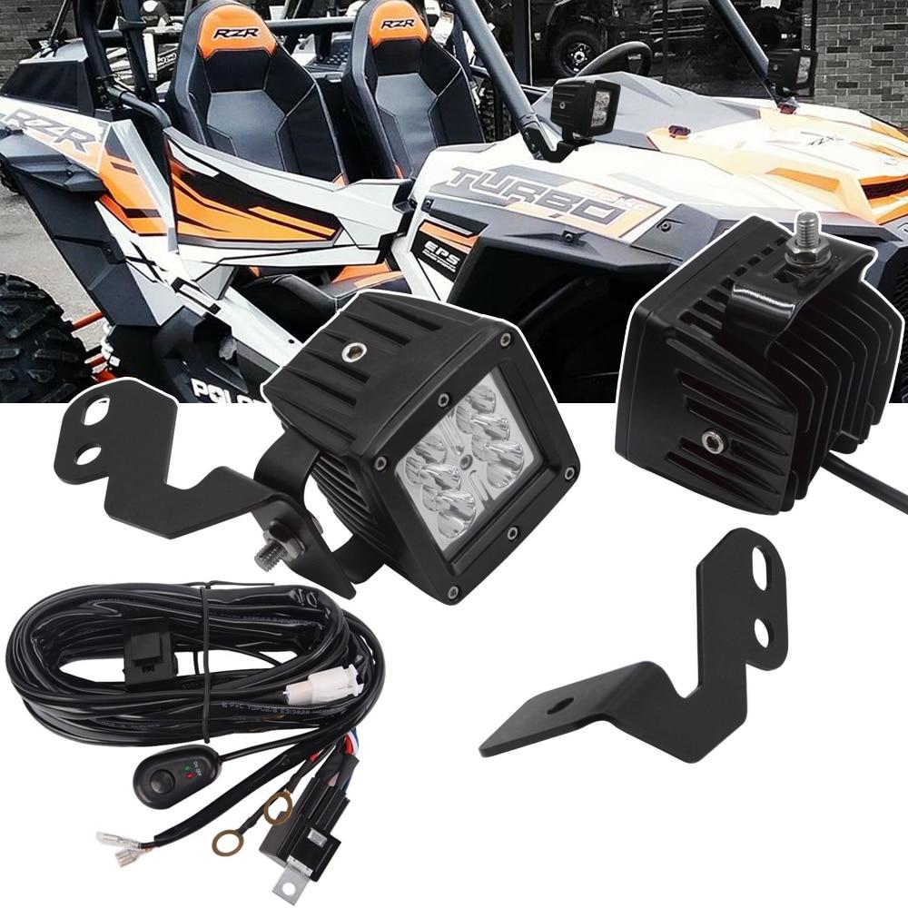 A-Pillar LED Light Pod Brackets, 3 inch 18W LED Light Cubes, Wiring Kit Fits Polaris RZR 900 1000 Turbo Models