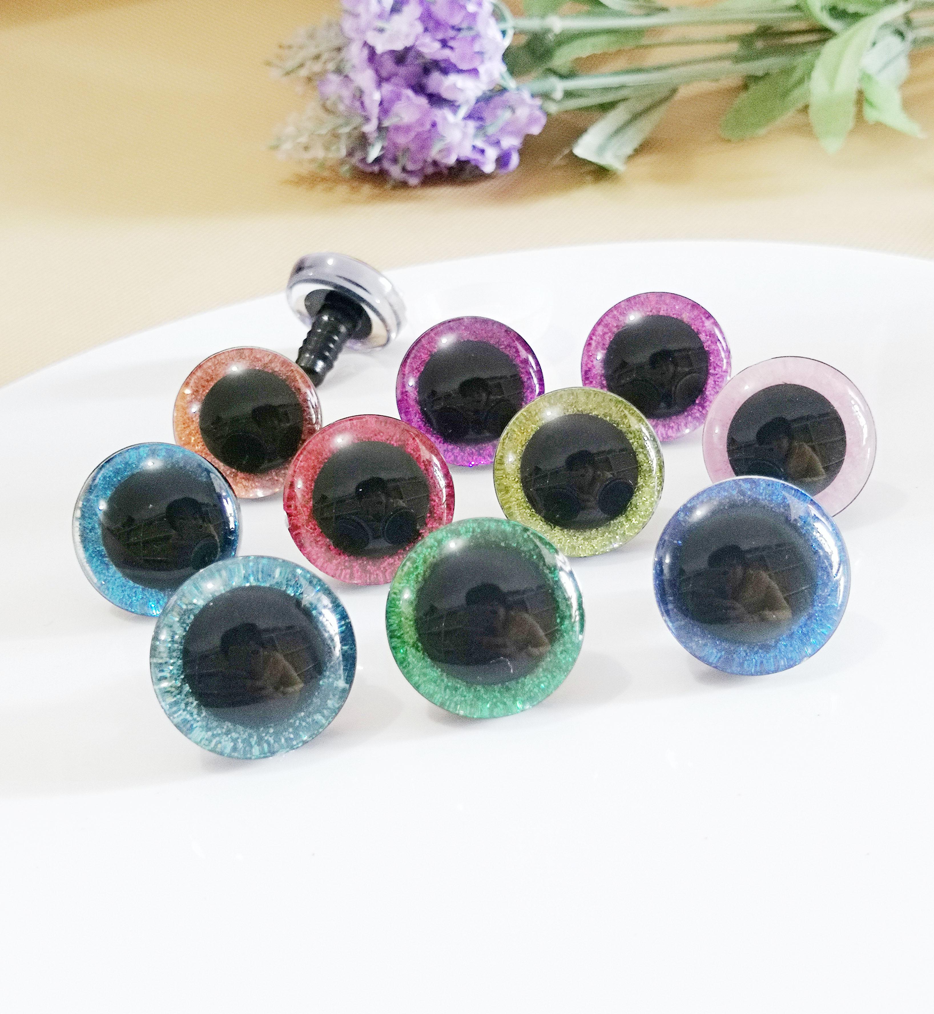 20 piezas --- 9-12-14 -- 16-18- 20 -24 -- 30-35mm ojos brillantes 3D transparentes ojos de juguete de seguridad de plástico + tejido brillante + arandela -- Opción de tamaño