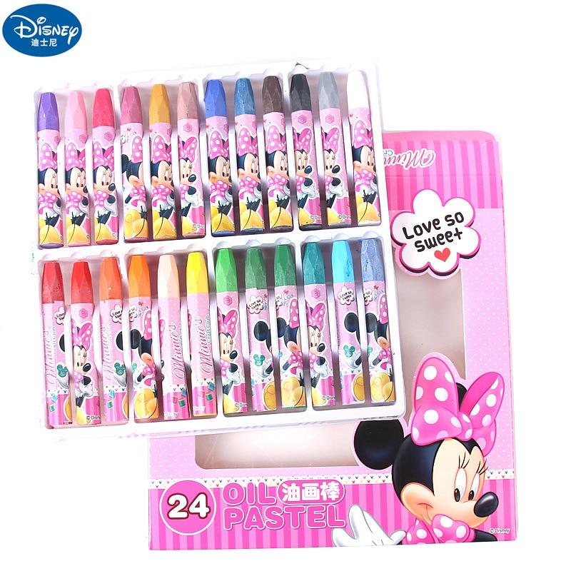 24 colors per box Cartoon Minnie Snow White crayons for kids Children's painting supplies Disney Princess boy girl oil crayon
