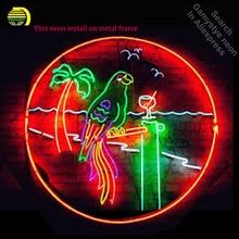 Green Parrot   San Marcos Texas Convention Neon Bulbs Sign Handmade Light bar Room Recreation Glass Tube Handcraft Affiche lamps