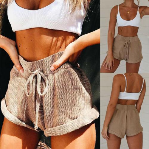 New Women High Waist Tie Belt Shorts Bottoms Summer Loose Trousers Hotpants