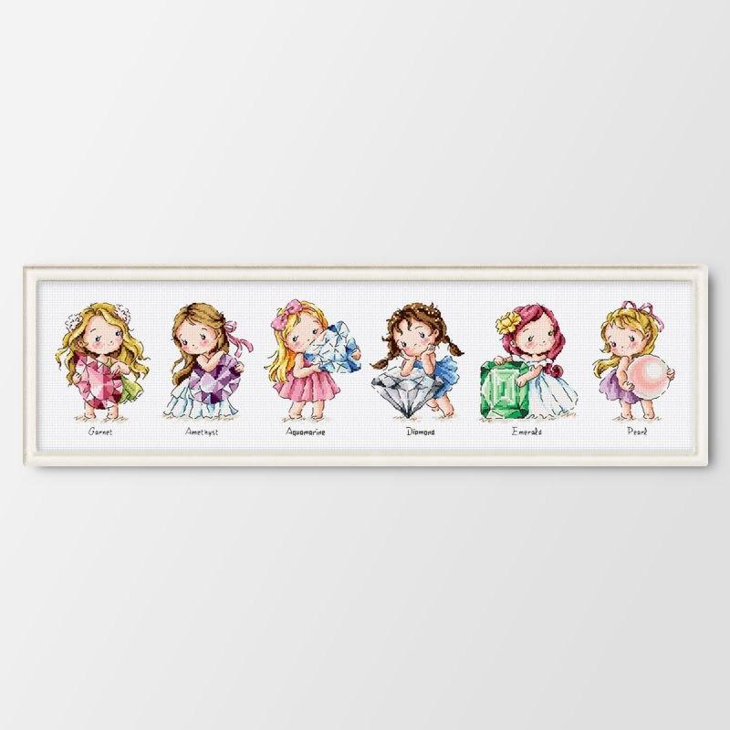 Fishxx impreso en lienzo cuenta los Kits de punto de cruz chinos juego de punto de cruz bordado cumpleaños linda chica guardian gema dibujos animados