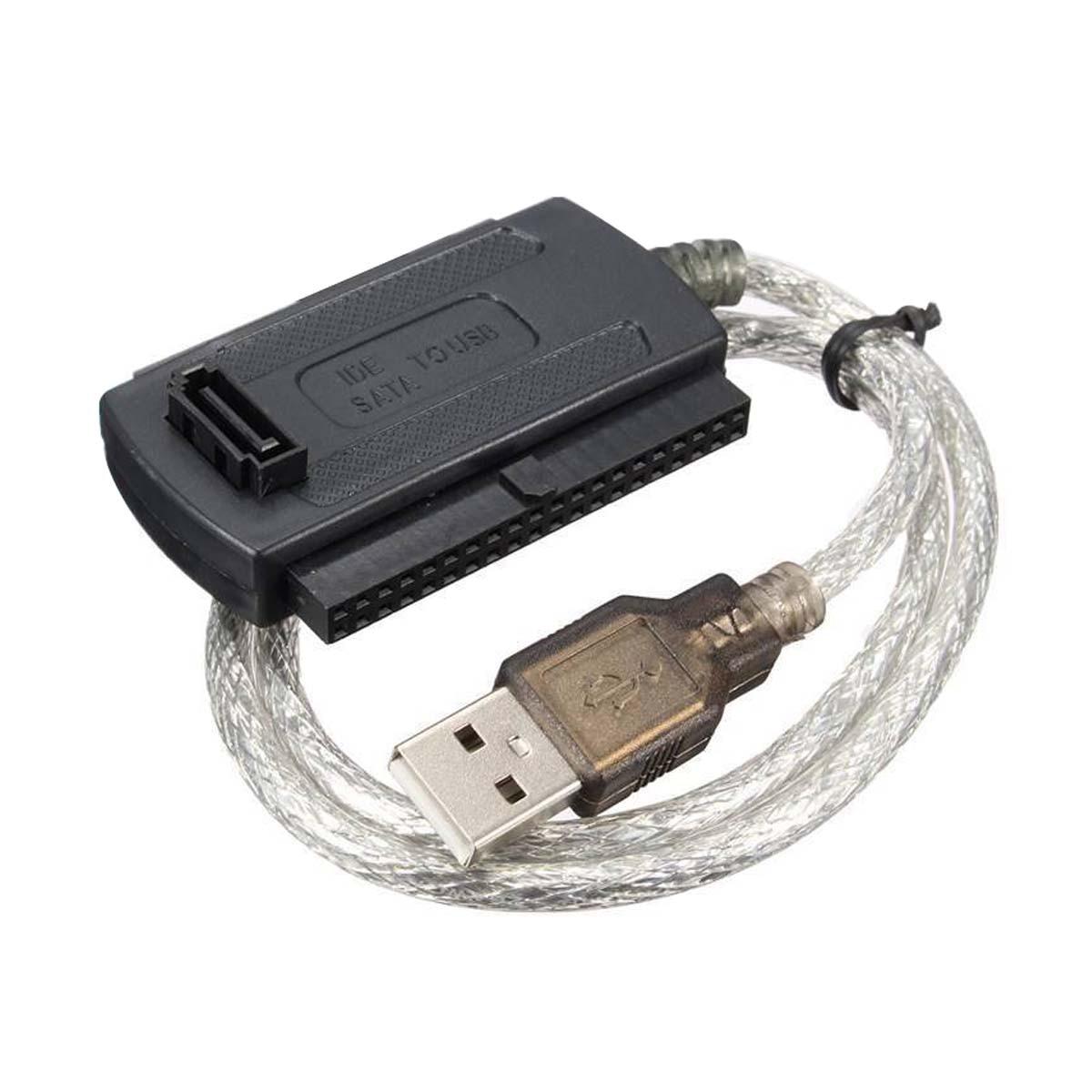 """USB 2.0 Macho para IDE SATA 2.5 """"3.5"""" Converter Adaptador de Cabo do Disco Rígido HDD Preto"""