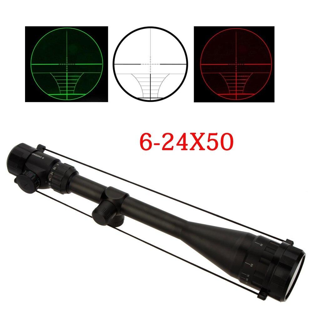 Mira telescópica de rifle táctica con punto rojo y verde para caza ajustable 6-24X50 para rifle
