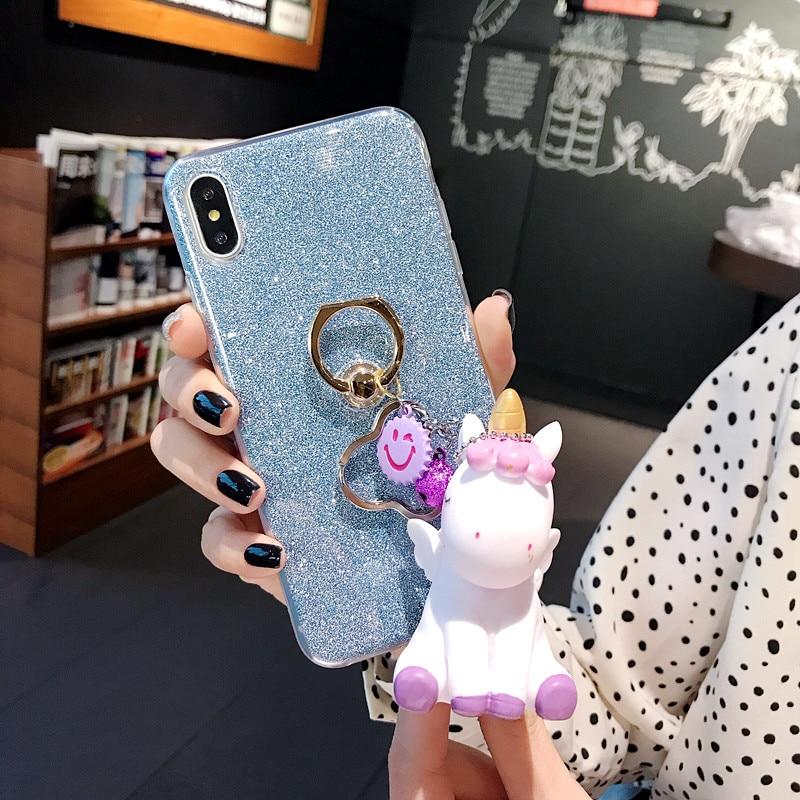 Funda de teléfono para Sony Xperia xz Premium anillo de silicona brillante con soporte brillante lindo unicornio colgante cubierta trasera protectora