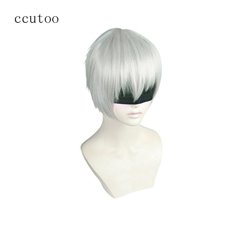"""ccutoo 12"""" Silver White Short Synthetic Hair NieR:Automata 9S YoRHa No. 9 Type S Wistalia Cosplay Costume Wig Heat Resistance"""