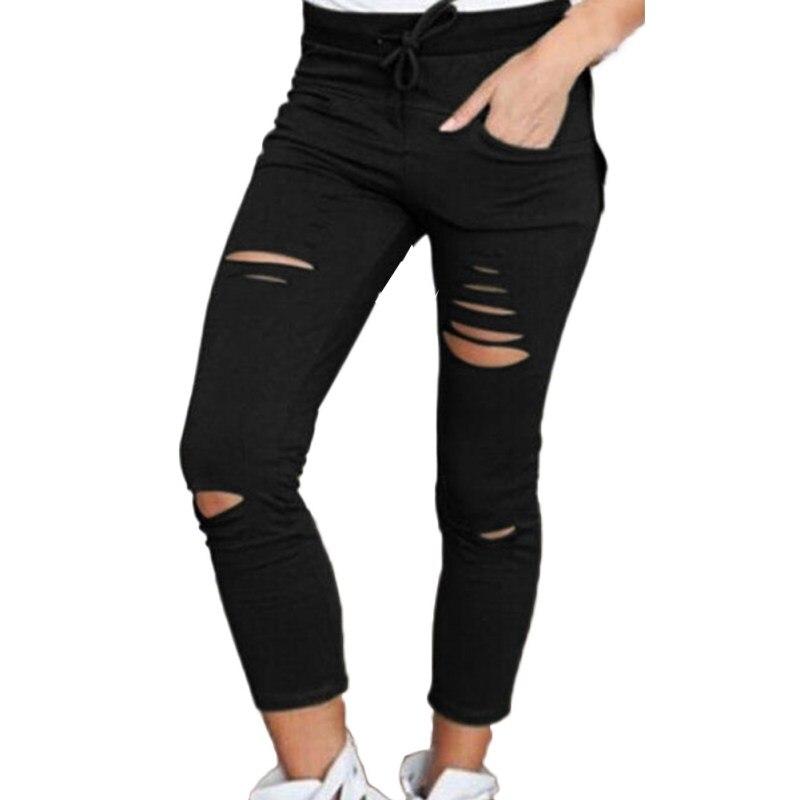 Pantalones de mujer polainas agujero pantalones con diseño rasgado Slim Stretch cordón Pantalones verde ejército