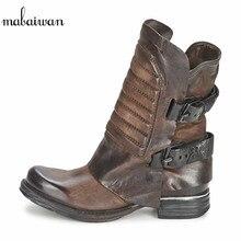 Mabaiwan mode femmes chaussures Design en cuir véritable bottines noir sangles Zapatos Mujer décontracté chaussures plates femmes Botas Mujer