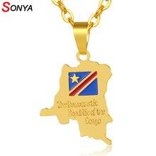 SONYA république démocratique du Congo carte petit pendentif collier couleur or rdc Bijoux pour femmes fille cadeau Bijoux Femme
