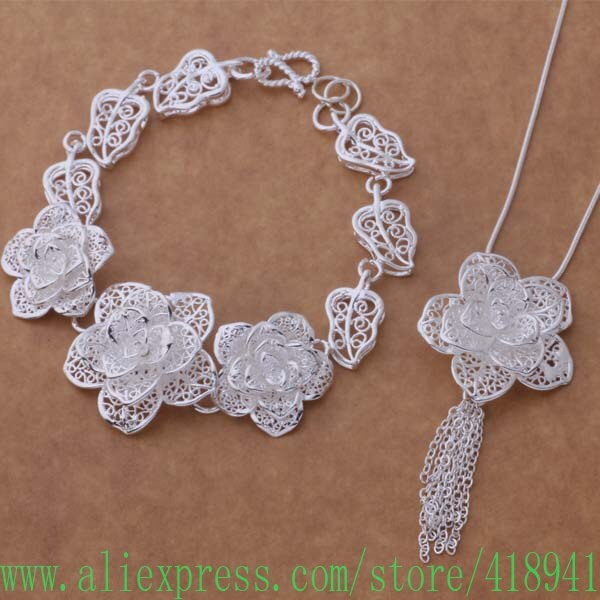 Conjuntos de joyas plateadas pulsera 284 + collar 699/ekkanbra blmakcta AS372