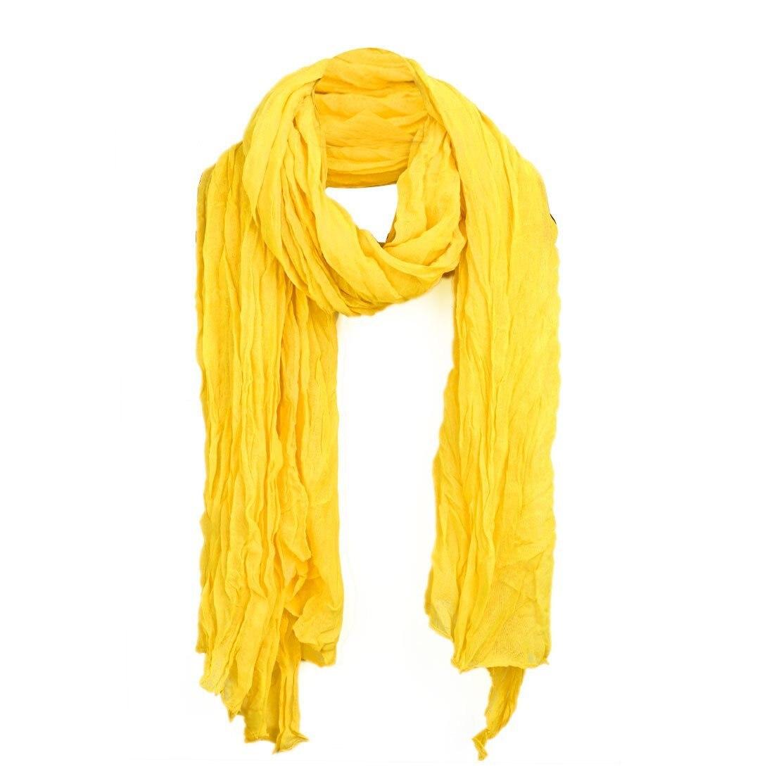 Bufanda amarilla, sencilla, suave, semitransparente, con detalle fruncido para mujer