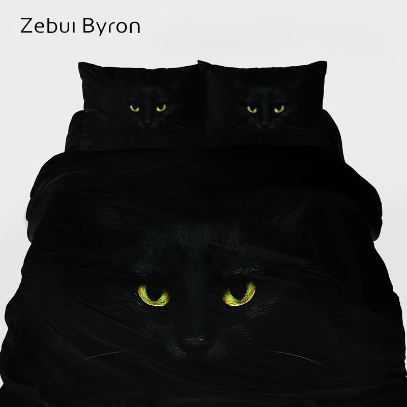 Juego de cama de lujo 3D tamaño King/Eruo, edredón de impresión personalizada/edredón/juego de edredón, juego de cama gato negro Animal, ropa de cama para EE. UU.