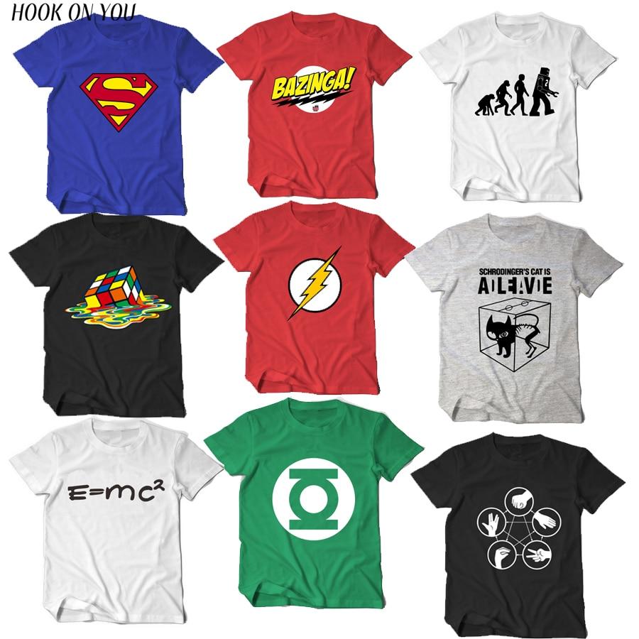 La teoría del Big Bang camiseta Sheldon Cooper super hero Linterna Verde flash cosplay t camisas de las mujeres de los hombres camiseta geek TBBT camiseta