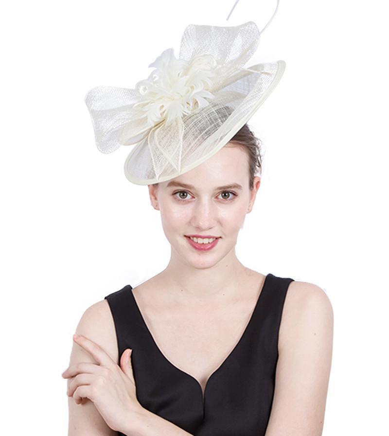 الأوروبية الأمريكية الزفاف القبعات بالغت كبير القرص ريشة الكتان زهرة جميلة القوس عقدة غطاء الرأس اليدوية إكسسوارات الشعر