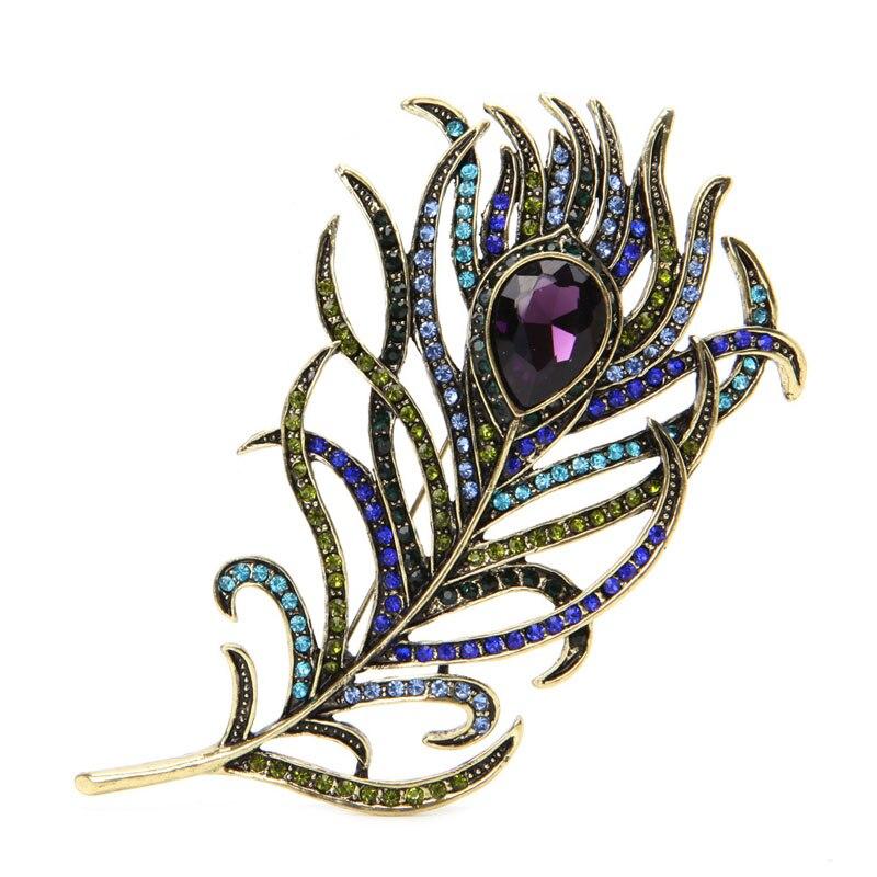 Vintage Pavo Real pluma oro multicolor Rhinestone broche Pins joyería x4