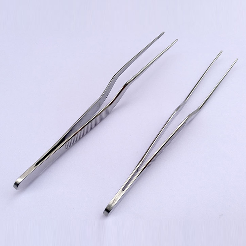 14cm/5,51 inch Profi-koch Beschichtung Pinzette Zange Serving Präsentation Edelstahl Offset Küche Werkzeug Silber