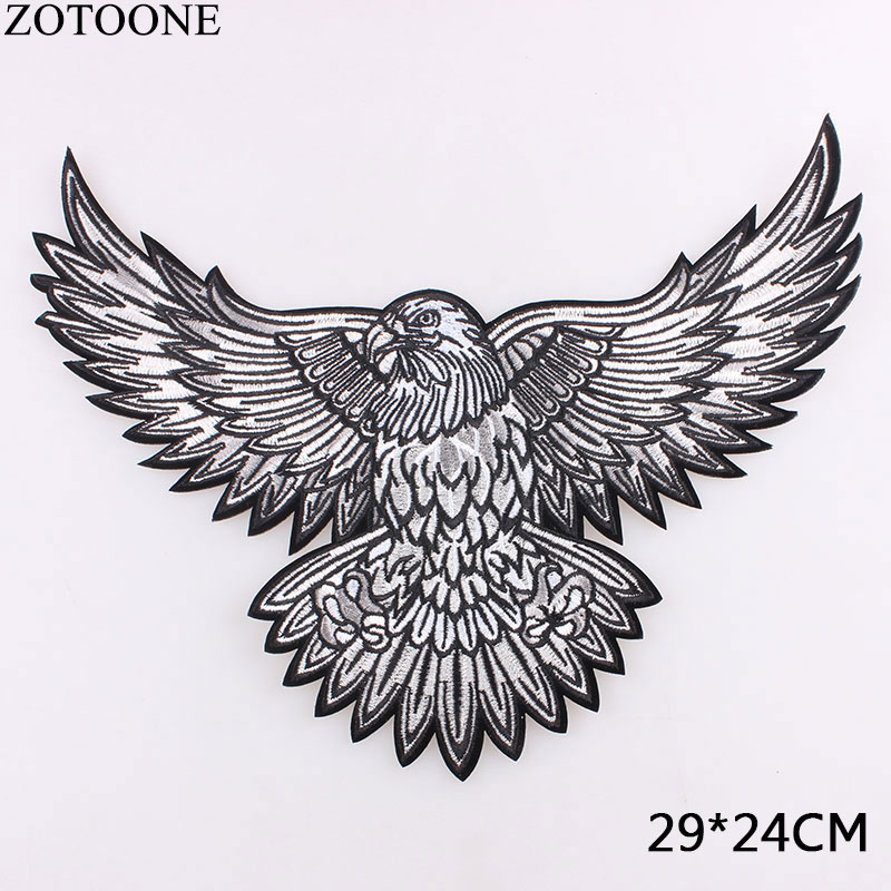 Наклейки для одежды ZOTOONE, большой орел, нашивки крылья, вышивка, байкерские, мотоциклетные, железные, сделай сам