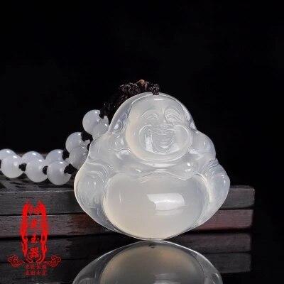Collar de Buda de jade blanco con colgante de Maitreya