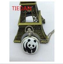 Nouvelle mode quartz argent blanc acier émail panda mignon pendentif Flip horloge montre de poche collier