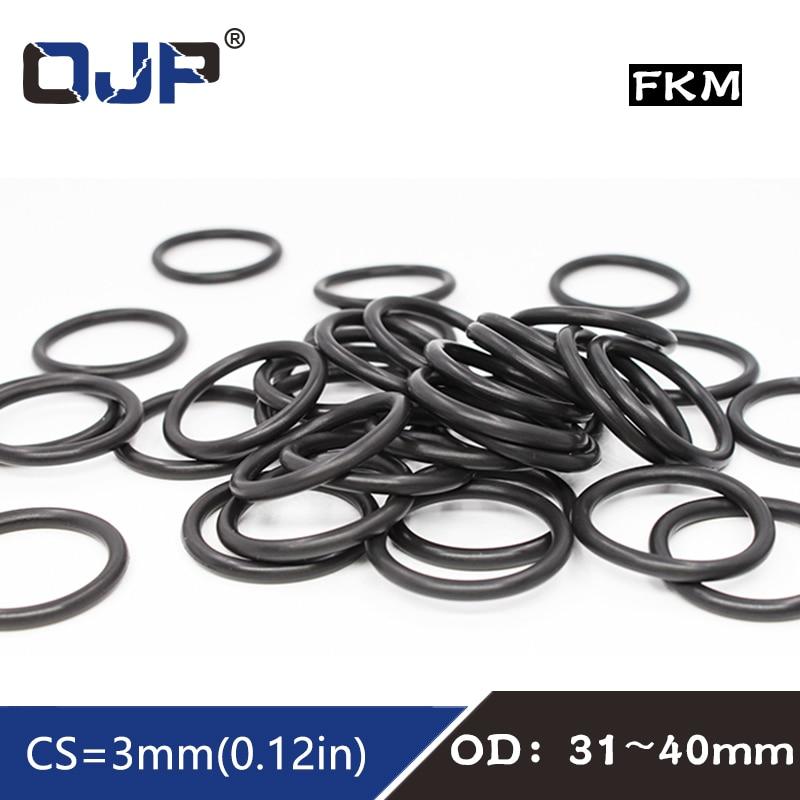 5 uds anillo de goma de flúor negro FKM O sello de anillo OD31/32/33/34/35/36/37/38/39/40*3mm junta tórica de goma arandela para juntas