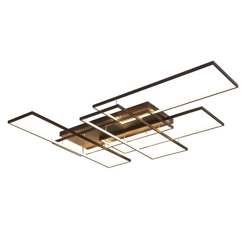 NEO Gleam DIY Coffee White Finish Rectangle Modern Led Ceiling Lights For Living Room Bedroom Study Room Ceiling Lamp Fixtures  - buy with discount