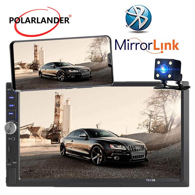 Autoradio 2 Din 7 pulgadas LCD radio del coche de la pantalla táctil reproductor de cassette menú manos libres BLUETOOTH cámara de Vista trasera de coche enlace espejo
